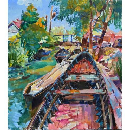 Рыбацкий поселок, лодки