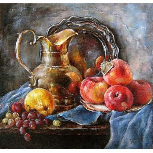 Натюрморт с яблоками и кувшином