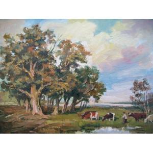 Пейзаж с коровами