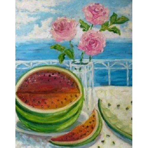 Натюрморт с розами и арбузом