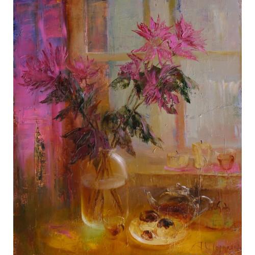 Хризантемы возле окна