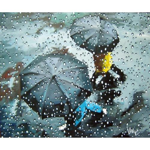 Успокаивающий вид из окна во время дождя