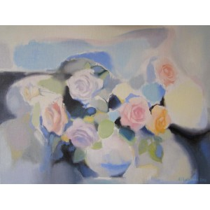 Розы на голубом фоне