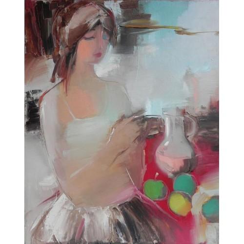 Девушка с яблоками и кувшином