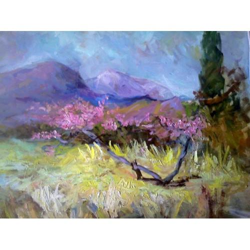 Крымский пейзаж с цветущим деревом