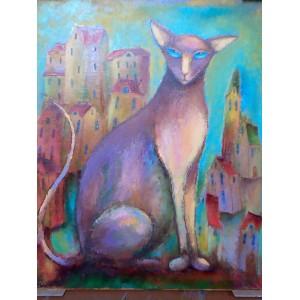 Кошка с бирюзовыми глазами