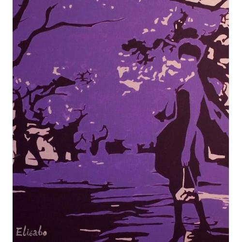 Живой пейзаж, фиолетовый