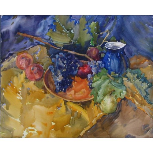 Виноград и синий глечик