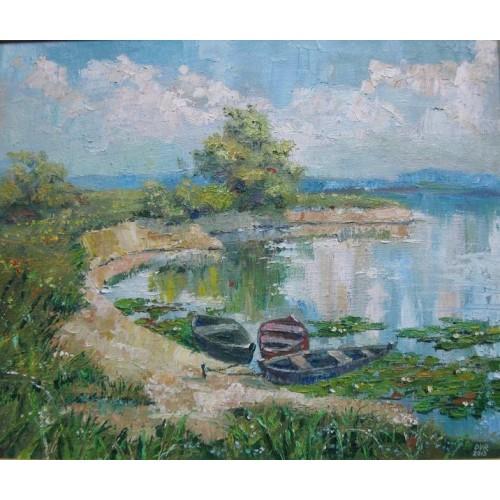 Лето. Озеро. Лодки