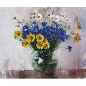 Васильки и желтые цветы