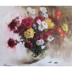 Разноцветные хризантемы