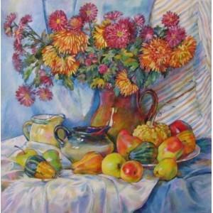 Хризантемы и яблоки