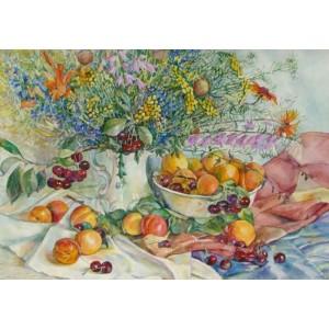 Вишни, абрикосы, цветы