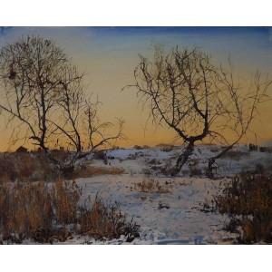 Закат. Под Луганском зимой