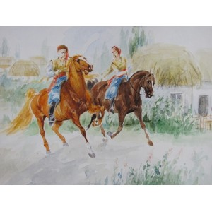 Козаки проезжают деревню