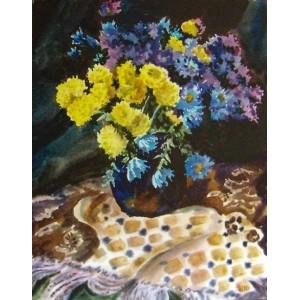 Хризантемы акварелью