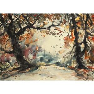 Осенняя дорога, акварель