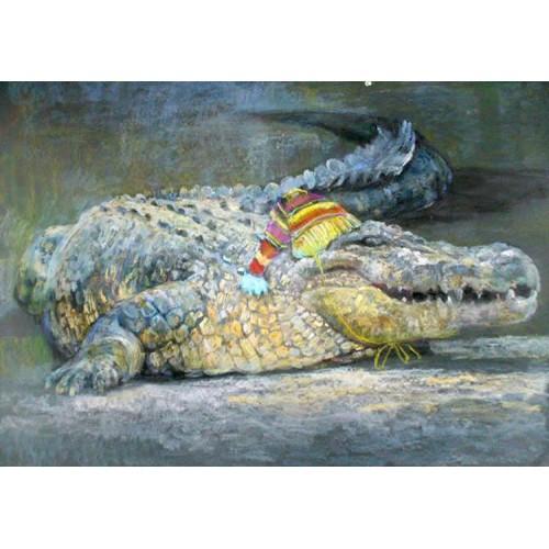 Крокодил в вязаной шапочке