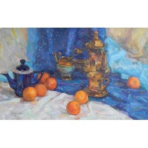 Золоченый сервиз и апельсины