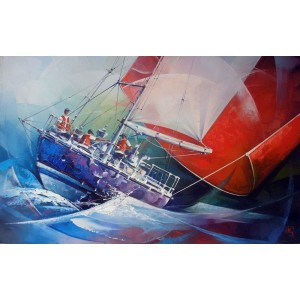 Яхта с красным паусом