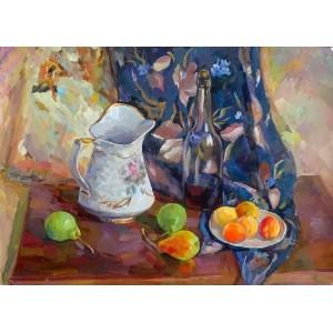 Натюрморт с фруктами и бутылкой