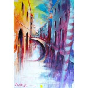 Канал с мостиком в Венеции