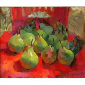 Зеленые груши на красном