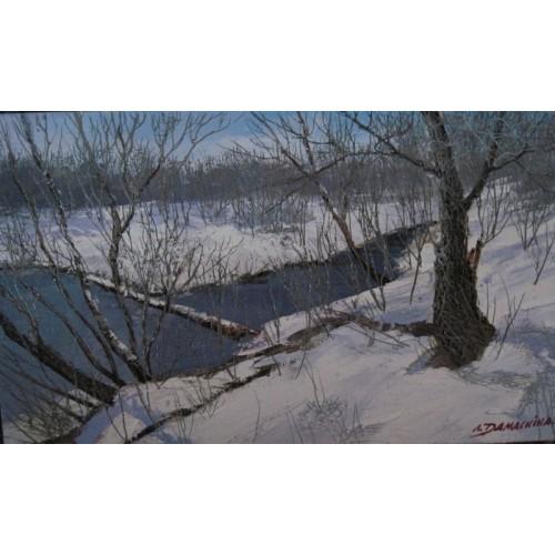 Зимний лес и ручей