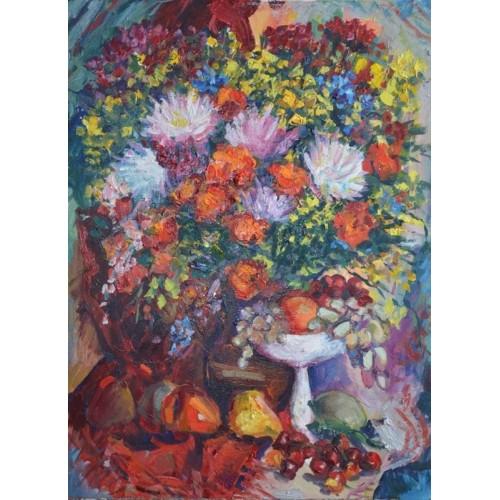 Цветы из Терновки с белой вазой