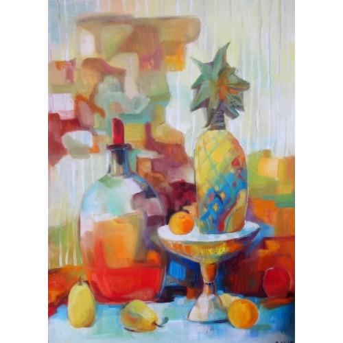 Натюрморт с ананасом и бутылем