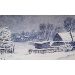 Первый снег в деревне