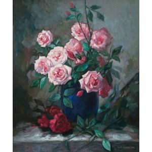 Троянди в синій вазі