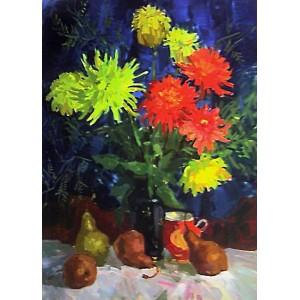 Желтые и красные хризантемы