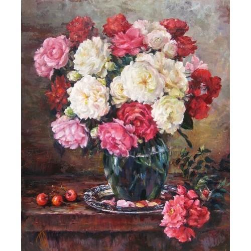 Розы, белые и розовые