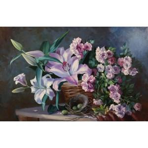 Натюрморт с цветами и гнездом