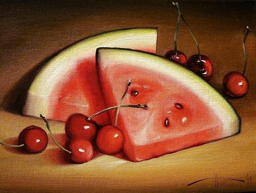 Арбузные дольки с вишнями, художник Сергей Потиха