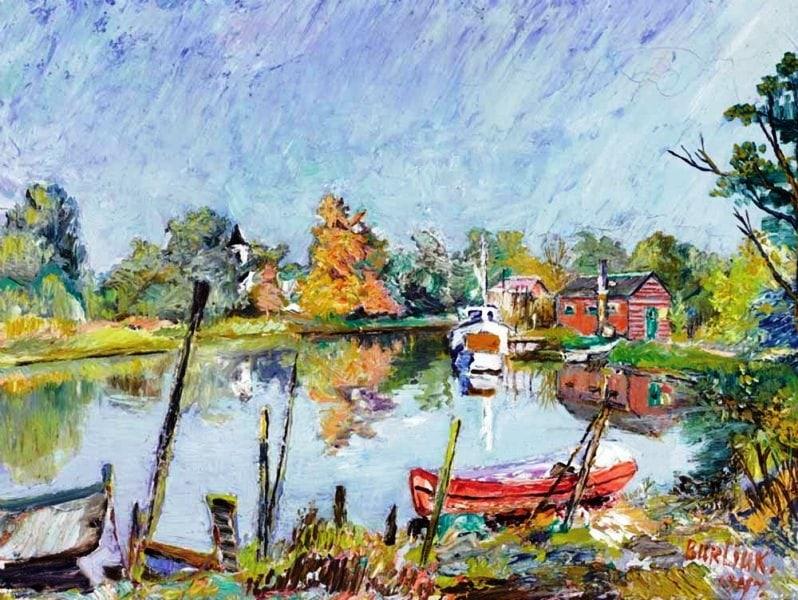 Деревенский пейзаж с озером, Давид Бурлюк