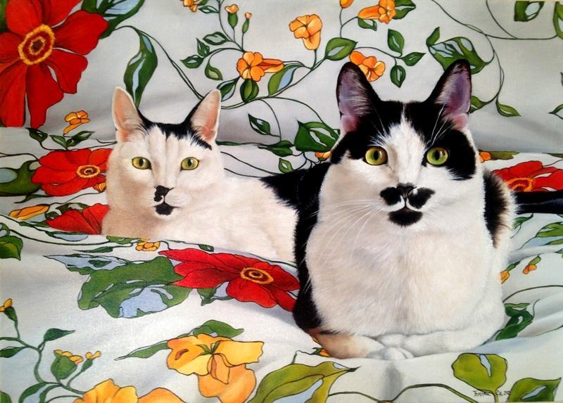 Букурос Екатерина, картина Два кота, фотореализм