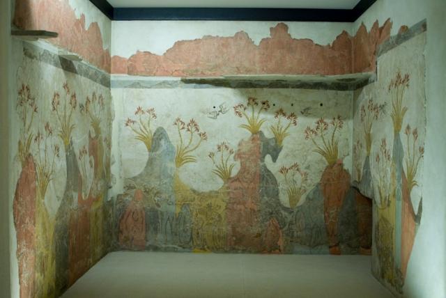 Древнегреческая фреска с пейзажем