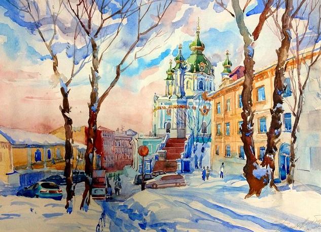 Киев. Вид на Андреевскую церковь зимой