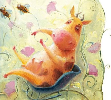 Корова и пчелы, картина для детей