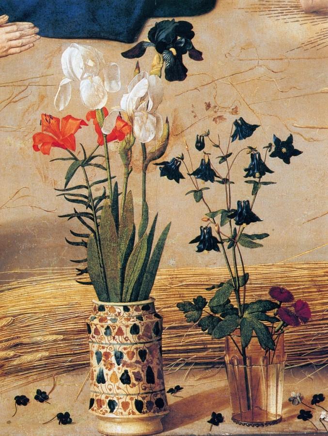 Натюрморт на фрагменте центральной части алтаря Портинари