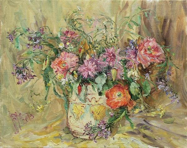 Картина киевской художницы написанная маслом с букетом цветов