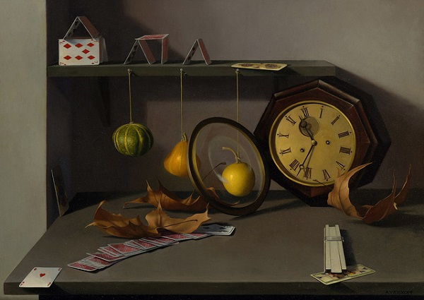 Натюрморт с часами на картине маслом