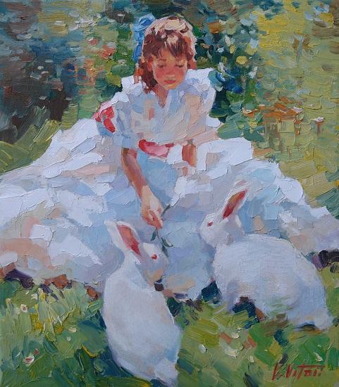 Девочка с белыми кроликами