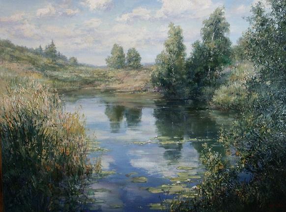 Картина с озером в подарок любителю рыбалки