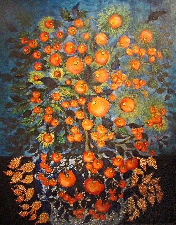 Букет оранжевых цветов на картине Серафины Луи