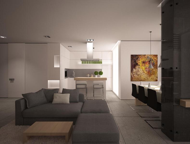 Гостиная со столом в стиле минимализм