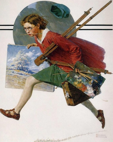 Norman Rockwell, Girl Running with Wet Canvas