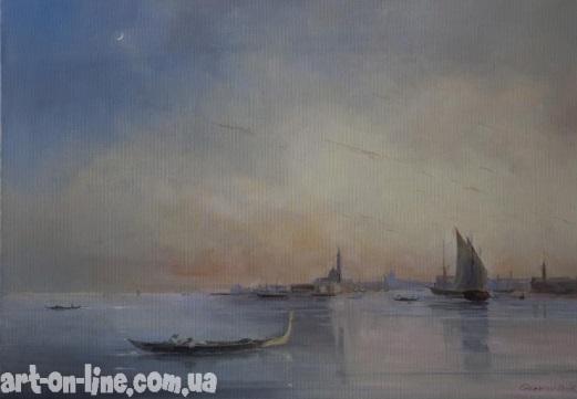 Вид Венеции с лагуны при закате